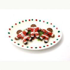 Puppenhaus Miniatur Lebkuchen Männer als Santa auf einem Teller Weihnachten gefroren