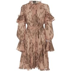 J. Mendel Bell Sleeve Dress ($4,990) via Polyvore featuring dresses, pink, pink ruffle dress, beige dress, frilly dresses, embroidered dress and bell sleeve dress