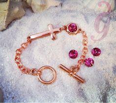 Bracelet rose gold with cross and swarovski xoxo