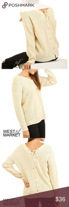 The Addison Lace-Up Sweater Beautiful cream sweater with lace-up tie up the back. Long-sleeve and v-neck. West Market SF Sweaters V-Necks