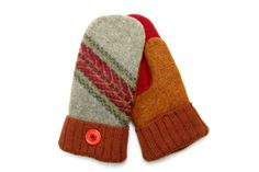 Felted Wool Sweater Mittens Made from Recycled by NorthlandWoolens, $40.00