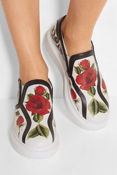 Alexander McQueen - Floral-print Leather Slip-on Sneakers - White - IT