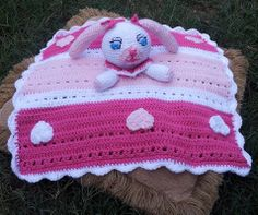 Crochet Bunny & Hearts Cuddle Blanket Instant Download PDF Pattern