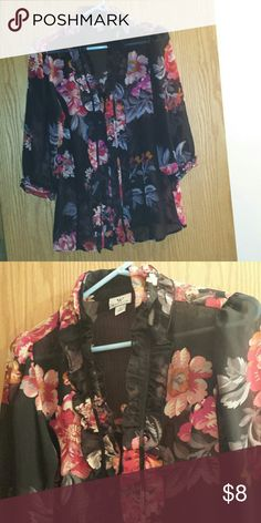 Black flowery blouse Quarter length sleeves.  Ruffles in the front. Sheer. New! Tops Button Down Shirts