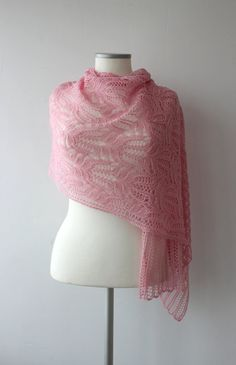 Pink hand knitted lace shawl with Frosty Flowers Lace pattern