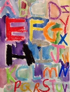 alphabet with oil pastels and watercolor