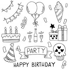 Dibujado a mano fiesta doodle feliz cump...   Premium Vector #Freepik #vector Happy Birthday Doodles, Happy Birthday Art, Doodle Art For Beginners, Easy Doodle Art, Cute Coloring Pages, Coloring Books, Doodle Baby, Chalkboard Wall Art, Watercolor Hand Lettering