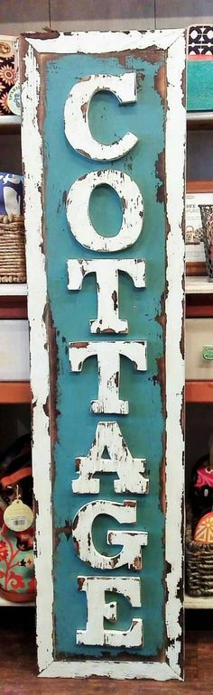 Rustic Cottage Sign old camp decor by oldweatheredsignart on Etsy