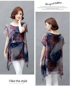 Korean style 2016 summer plus size Chiffon blouse thin slim clothing for women loose female long Shirt hot sale top 906A 25-in Blouses & Shirts…