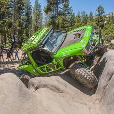 Beautiful and green this 1st gen Tacoma has had ever inch modified to be to ultimate crawler. Here it is walking up Soup Bowl on the Rubicon Trail. #Tacoma #1stGen #Rubicon #crawling #offroad #4x4 #toyota http://ift.tt/290Gr8f