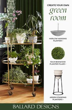 Looking to create your own green room? Add topiaries, wreaths, faux plants, and more to hanging planters, standing planters, or bar carts to add a sense of spring in any space. Shop fake plants and indoor greenery at Ballard Designs today!