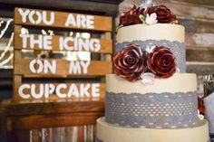 Wedding reception barn, wedding décor, wedding cake and cupcakes. Rustic barn wedding and reception venue in Alabama whiteacresfarms.com