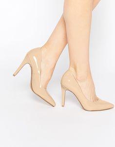 Super seje Head over Heels By Dune Addyson Nude Patent Heeled Court Shoes - Nude Head over Heels by Dune Højhælede Sko til Damer i lækker kvalitet
