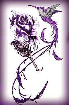 Hummingbird Tattoo Designs And Ideas Feather Tattoos, Flower Tattoos, Body Art Tattoos, Tattoo Drawings, Tatoos, Trendy Tattoos, Tattoos For Guys, Phoenix Tattoo Feminine, Purple Rose Tattoos