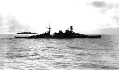 Shortly after leaving Durban. Battlecruiser HMS Repulse pictured with her final convoy! (B&W)