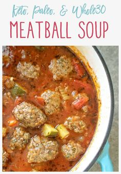 This keto. This keto meatball soup is easy to prepare, hearty, and loaded with fresh veggies and flavor. Best of all, the meatballs can be made ahead of time and it freezes nicely. Healthy Diet Recipes, Low Carb Recipes, Healthy Eating, Cooking Recipes, Keto Snacks, Low Carb Soups, Paleo Diet, Slow Cooker Keto Recipes, Whole 30 Crockpot Recipes