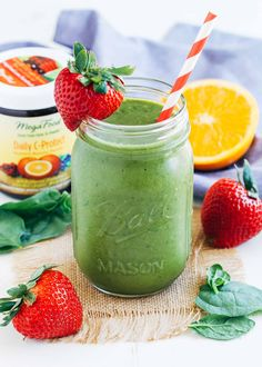 Strawberry Mango Spinach Smoothie- packed full of vitamin C, vitamin A, fiber and iron! | Making Thyme for Health @megafood #partner