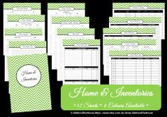 Home and Inventories Printable - Chevron - Car Maintenance Checklist - Pantry Inventory, Appliance Index and more! http://allaboutthehouseblog.wordpress.com/