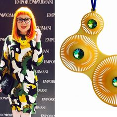 Style queen @foreveryoursbetty recently wore our Phase Quintuple necklace beautifully to an @Armani event in Glasgow  #fbloggeruk #fblogger #yellow #statementnecklace #event #Armani #glasgow by lynnemaclachlanstudio