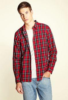 Pocketless Plaid Shirt #21Men
