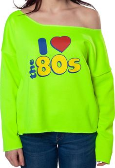 Neon I Love 80s Cut Off Sweatshirt