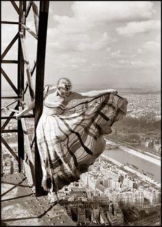 Lisa Fonssagrives on the Eiffel Tower by Erwin Blumenfeld 1939
