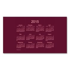 2015 Pocket Calendar by Janz Business Cards