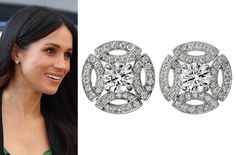 Cartier White Gold and Diamond Galanterie Stud Earrings as seen on Meghan Markle
