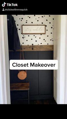 Closet Bench, Front Hall Closet, Entry Closet, Coat Closet Organization, Creative Closets, Black Closet, Entry Wall, Closet Remodel, Hanging Bar