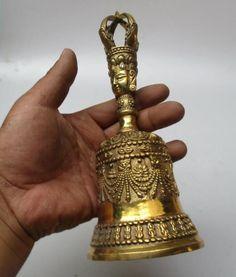 High :8inch/21 CM Home Decor Feng Shui brass Hand Bell /Metal Decoration Crafts Tibetan Buddhism Lucky Bell