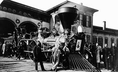 Here is a view of Lincoln's funeral train as it pulled out of a station in 1865.  Notice the large size of the wheels on the locomotive and the many people who would ride along with the procession.  This sparked a thirst for train travel in the minds of the American people.