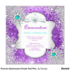 Princess Quinceanera Purple Teal Winter Wonderland Card Winter Wonderland Princess Quinceanera 15th Birthday Party Purple and Teal Blue. Winter Wonderland Pearl Snowflakes. Silver White Tiara. Silver White Lace frame. Party Princess mis quince Party for a teen girl. Invitation Formal Use for any event invitation Customize to change or add details. Template for Quinceanera 15th, Fabulous product for all teen Girls, Zizzago created this design PLEASE NOTE all flat images! They Do NOT have real…