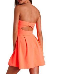neon bow-back strapless skater dress