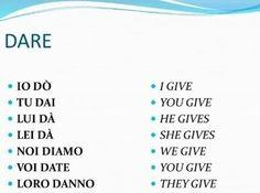Learning Italian - Verbi italiani irregolari - DARE (dati - to give): Italian Verbs, Italian Grammar, Italian Vocabulary, Italian Phrases, Italian Language, German Language, Japanese Language, Dual Language, Chinese Language