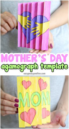 This Mother's Day agamograph template will make a perfect kid made Mothers day gift. As it's a simple no prep activity it's also great to make in the classroom. One of the coolest Mothers day crafts for kids to make this year.
