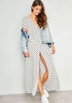 573e620440 Missyempire - Hannah White Polkadot Wrap Front Maxi Dress Maxi Wrap Dress