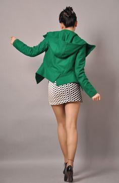 Green Wool Hooded Puff Long Sleeves Winter Fashion Jacket