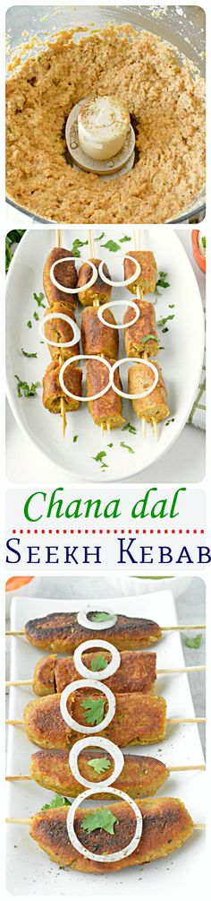 Aromatic spices and veggie- lentil combo give these seekh kebabs a wonderful mix of flavors! Simple and exotic appetizer recipe! Indian Appetizers, Indian Snacks, Appetizer Recipes, Simple Appetizers, Indian Foods, Indian Dishes, Dinner Recipes, Veg Recipes, Indian Food Recipes