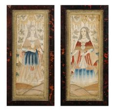 late 18th or early 19th century silk pictures depicting ladies in 17th century attire