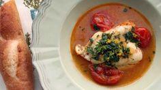 Sicilian-Style Saffron Cod with Burst Tomatoes.