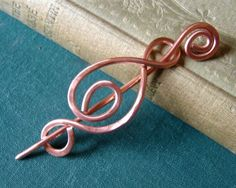 Madonna Swirl Copper  Shawl Pin - Sweater Brooch - Fastener via Etsy