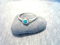 Stackable Turquoise and Sterling Silver ring. by Iridonousa