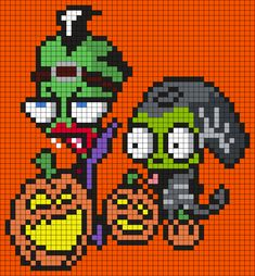 Halloween Zim And Gir From Invader Zim by Maninthebook on Kandi Patterns