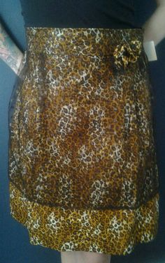 apron in sexy leopard print with sheer by TwoSparrowsClothing, $28.00