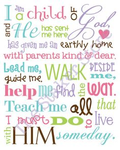 I Am a Child of God   11x14 LDS primary song subway art by The Staker Store on Etsy