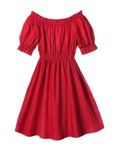 Plus Size Elastic Waist Red Short Sleeve Dress