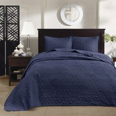 Madison Park Mansfield Navy 3-piece Bedspread Set
