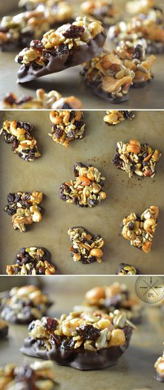Snack Country Clusters by Our Paleo Life - Nuts, seeds, and dried fruit sweetened with honey and wrapped in dark chocolate. Paleo Dessert, Healthy Sweets, Delicious Desserts, Yummy Food, Whole Food Recipes, Snack Recipes, Dessert Recipes, Cooking Recipes, How To Eat Paleo