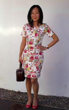 Queen of Darts: TNT mash-up wedding guest dress (Elisalex bodice and McCalls 3830 skirt)