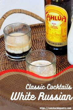 An Easy and Tasy White Russian Recipe! This Kahlua drink is so tasty and I will show you how to make this classic vodka cocktail. Classic White Russian Recipe, Classic Drink Recipe, White Russian Recipes, Kahlua Drinks, Alcoholic Drinks, Vodka Recipes, Cocktail Recipes, Classic Vodka Cocktails, My Favorite Food